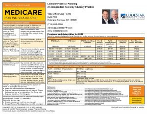Medicare Quick Reference Guide for 2021